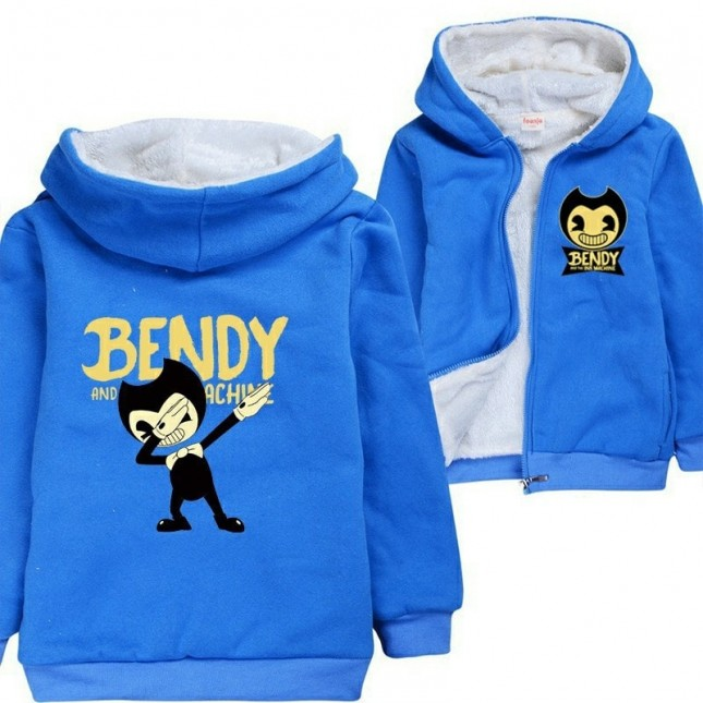 Bendy and the Ink Machine Kids Hoodies Zip Up Fleece Jackets Winter Coats