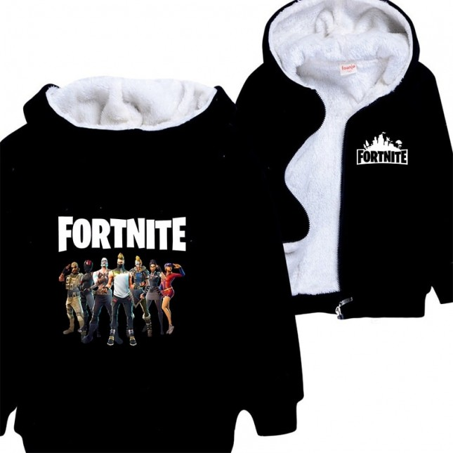 Fortnite Kids Hoodies Zip Up Fleece Jackets Winter Coats 4