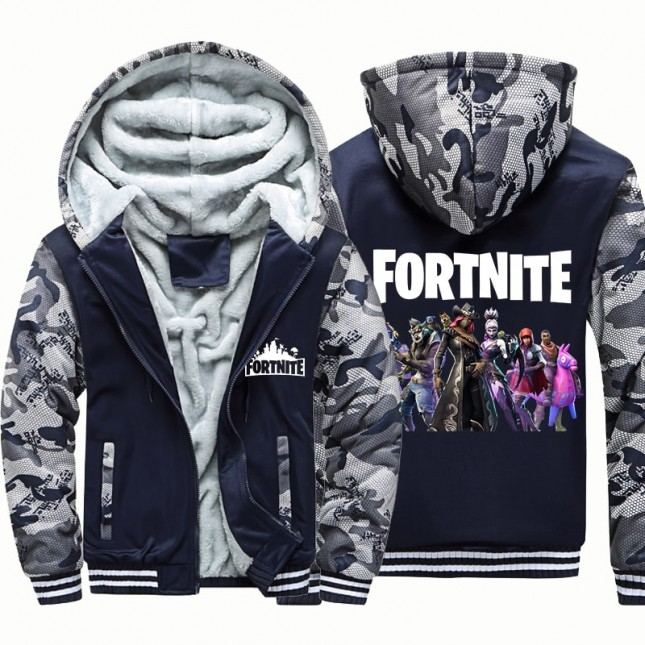 Kids Fortnite Camouflage Jackets Thick Fleece Hoodies Winter Coats