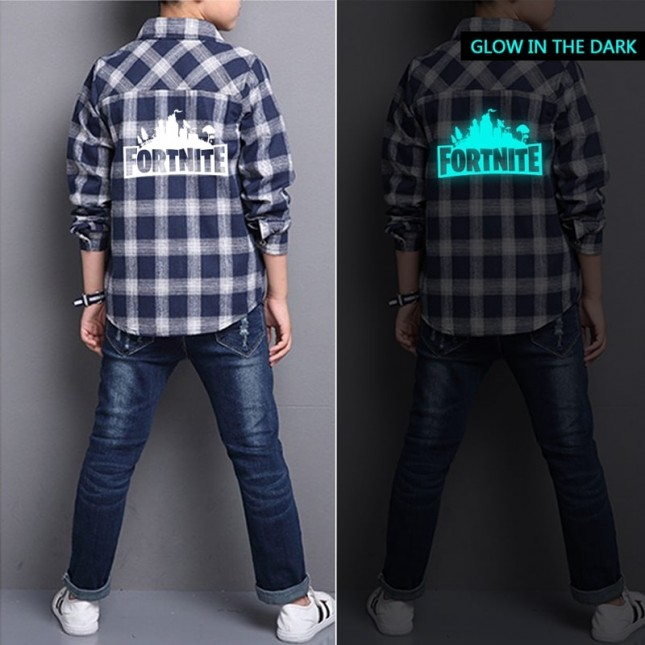 Kids Fortnite Flannel Plaid Shirt Glows in the dark(3 color)