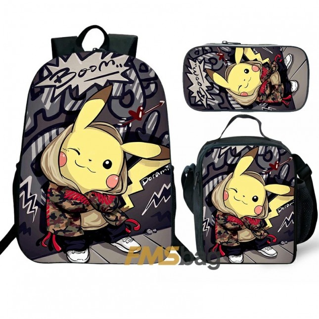 Pokemon Pikachu Backpack and Lunch box School Bag Kid Bookbag Best Gifts
