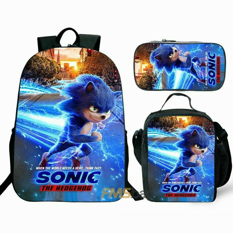 Sonic In A Bag Sonic The Hedgehog Roblox Kids Gifts Sonic The Hedgehog Backpack Lunch Box Shoulder Bag Pencil Case Super Value Preferential Set Best Gifts For Kids