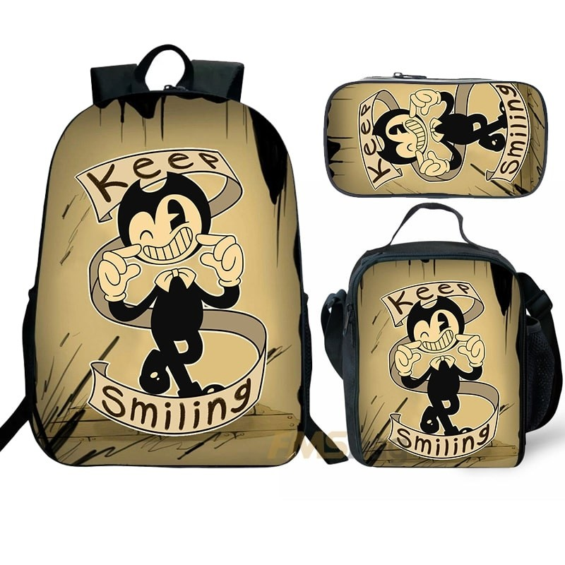 Bendy and the Ink Machine keep smiling Backpack/Lunch box/Shoulder bag/Pencil case Super Value Preferential Set 2