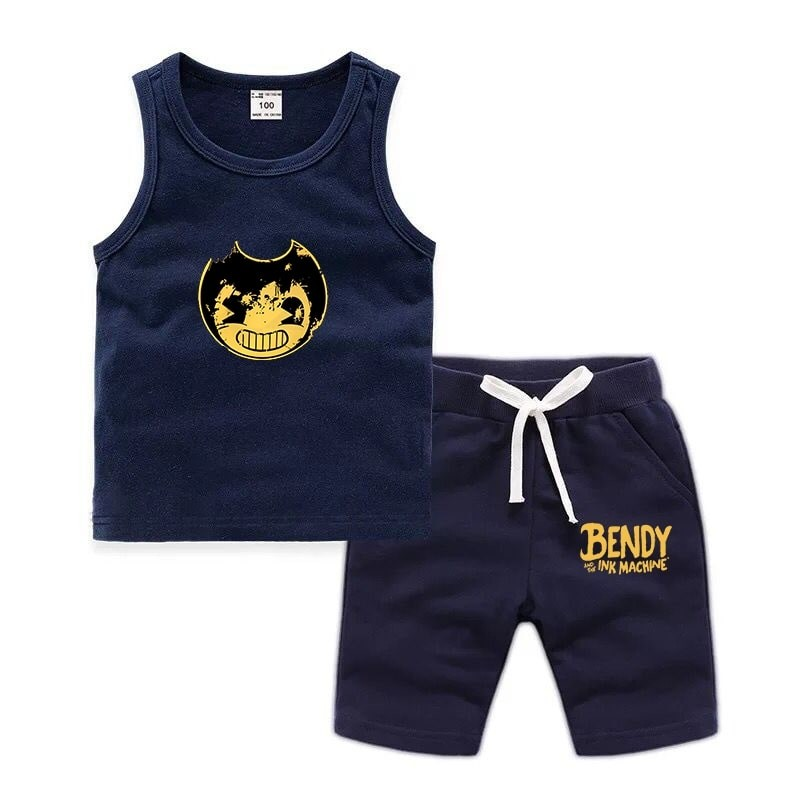 Bendy and the Ink Machine Baby Boys T Shirt Tank Top+Shorts Pants Summer Outfits Set