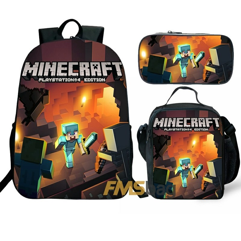Minecraft Backpack/Lunch box/Shoulder bag/Pencil case Super Value Preferential Set