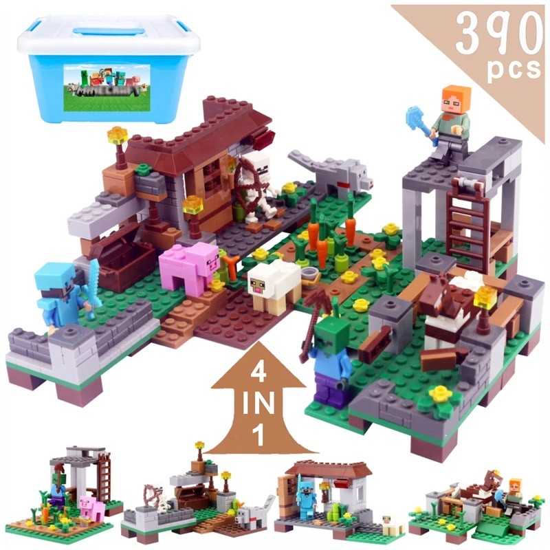 Minecraft The city of the war horse Kids Gift Build Blocks Pack Set Toy(390 Piece)
