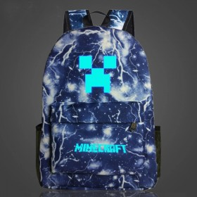 Minecraft Backpack for Boys and Girls Bookbag Schoolbag Creeper logo Galaxy glows in the dark