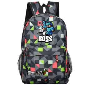 Minecraft Like a Boss Bookbag Backpack Students Handbags Travelbag lingge Black