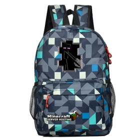 Minecraft Enderman Schoolbag Backpack Kids  Bookbag lingge Blue