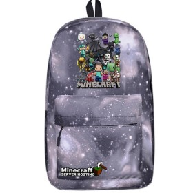Minecraft All Characters  Backpack BookbagStudents Handbags Travelbag gray sky