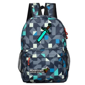 Minecraft Sword Schoolbag Backpack Kids  Bookbag Handbags Travelbag  lingge Blue