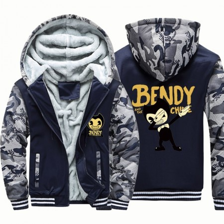 Kids Bendy and the Ink Machine Camouflage Jackets Thick Fleece Hoodies Winter Coats
