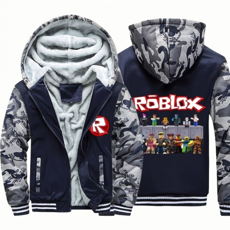 Kids Roblox Camouflage Jackets Thick Fleece Hoodies Winter Coats